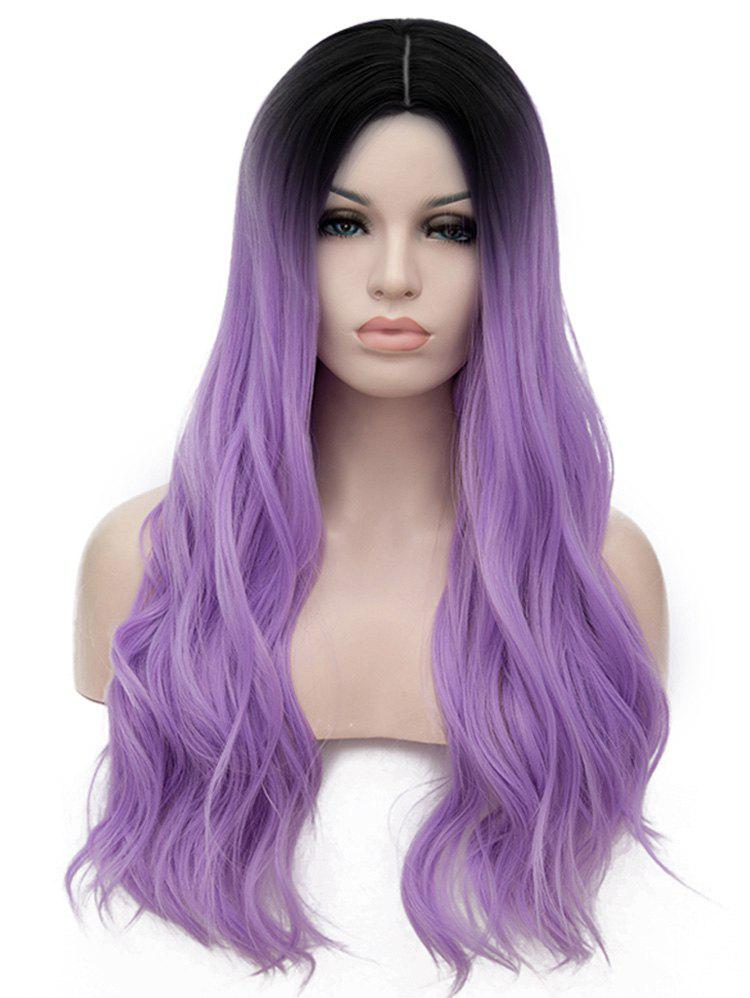 Long Center Parting Ombre Slightly Curly Anime Cosplay Synthetic Wig - multicolor D