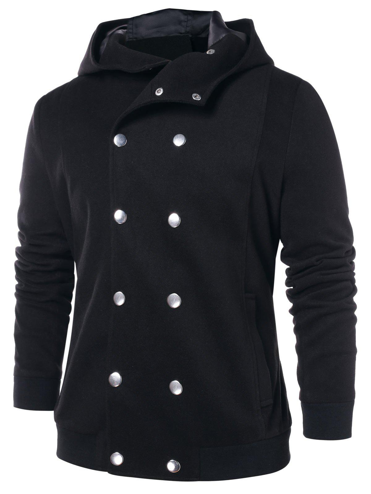 Solid Color Double Breasted Hooded Coat - BLACK XL