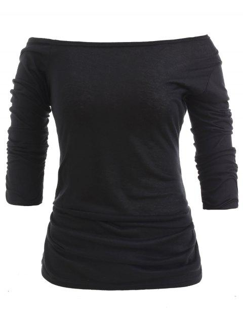 Trendy Long Sleeve Scoop Neck Solid Color Women's T-Shirt - BLACK M