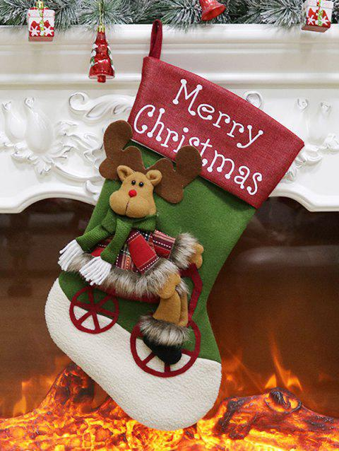 Merry Christmas Theme Elk Hanging Stocking Decor - JUNGLE GREEN