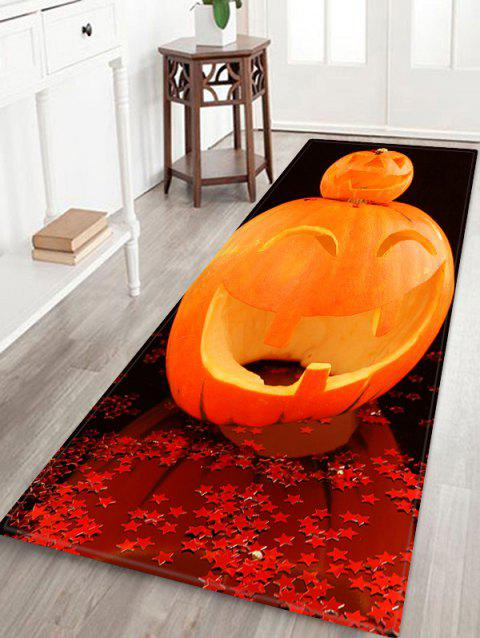 Tapis de zone anti-dérapant en flanelle - Orange Halloween W16 X L47 INCH