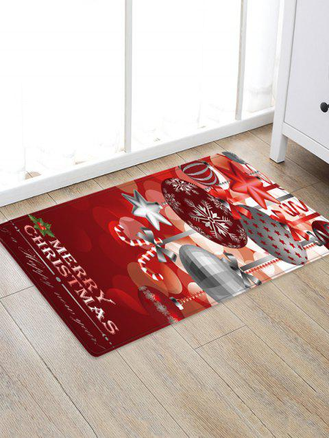 Christmas Hanging Balls Pattern Anti-skid Flannel Area Rug - RED WINE W20 X L31.5 INCH
