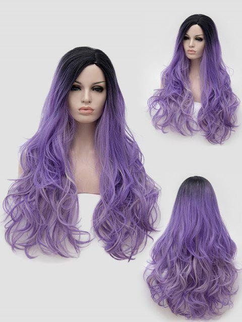 Long Side Parting Slightly Curly Colormix Party Synthetic Wig - multicolor
