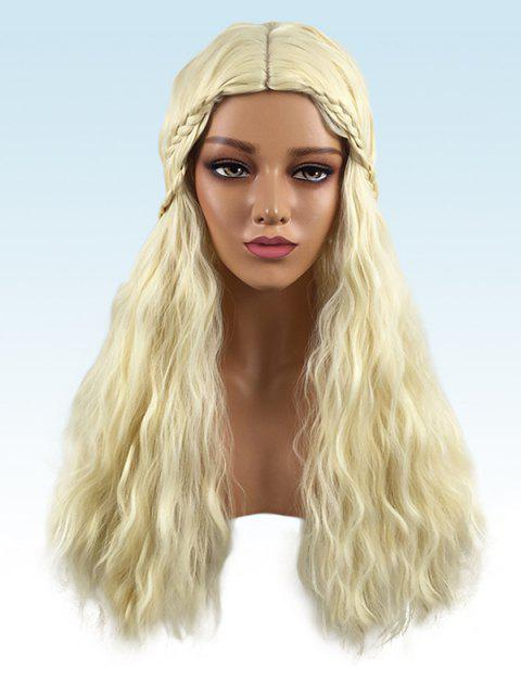 Long Center Parting Braided Corn Hot Wavy Party Synthetic Wig - BLONDE