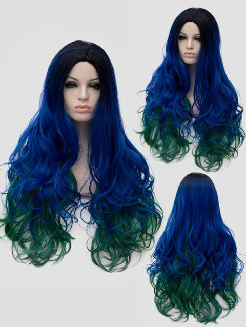 Long Side Parting Wavy Colormix Cosplay Party Synthetic Wig - multicolor