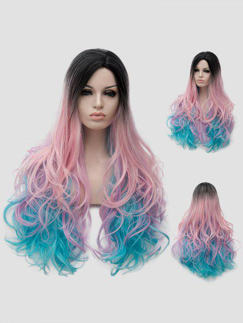 Long Side Parting Colorful Wavy Rainbow Synthetic Party Wig - multicolor