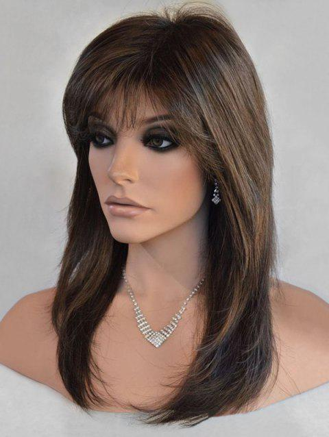 Long Side Bang Straight Colormix Synthetic Wig - multicolor