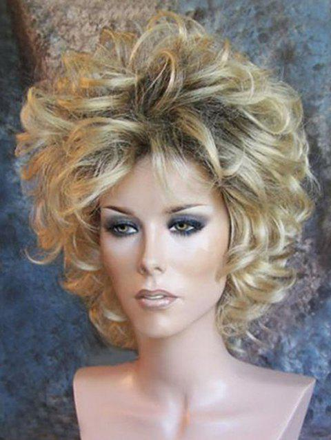 Short Side Bang Colormix Curly Party Synthetic Wig - multicolor