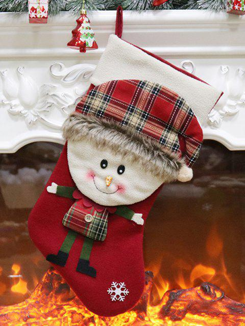 Christmas Theme Snowflake Snowman Hanging Stocking Decor - CHESTNUT RED