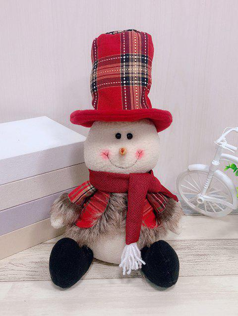 Christmas Theme Snowman Shaped Decor Doll - RED