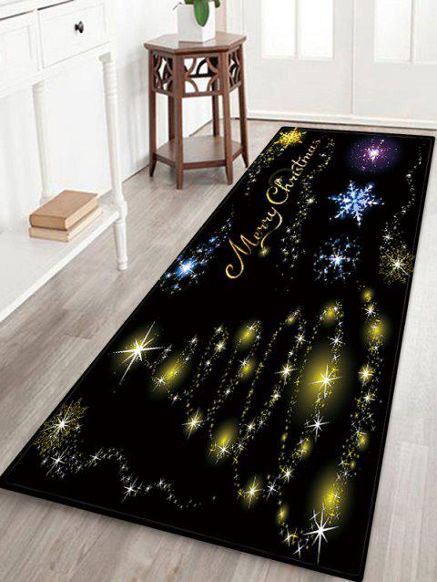 Christmas Star Tree Pattern Anti-skid Flannel Area Rug - BLACK W16 X L47 INCH