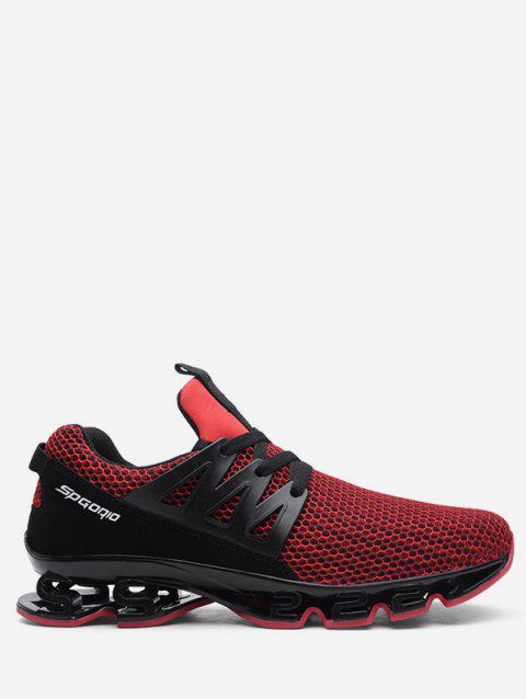 Color Block Mesh Breathable Athletic Sneakers - RED EU 43