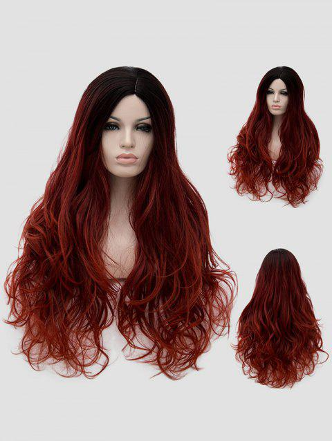 Long Side Parting Wavy Colormix Cosplay Synthetic Wig - multicolor