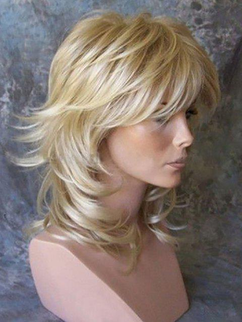 Medium Inclined Bang Layer Slightly Curly Synthetic Wig - BLONDE