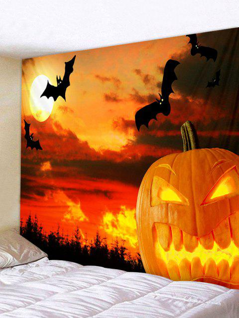 Art mural de tapisserie d'impression de chauves-souris de Halloween - Orange Halloween W59 X L59 INCH