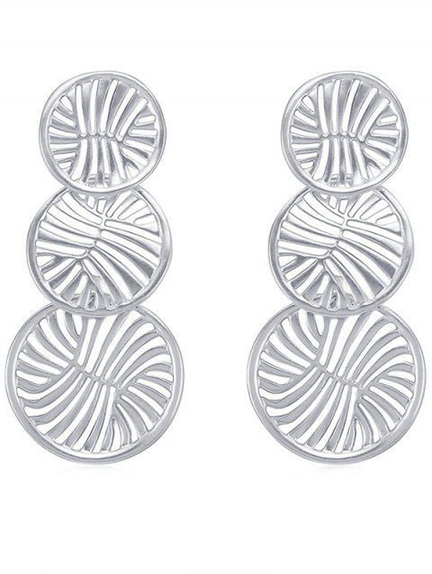 Hollow Round Designed Drop Earrings - SILVER