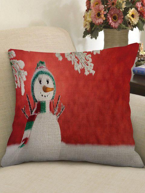 Christmas Snowman Pattern Linen Pillowcase - multicolor W18 X L18 INCH