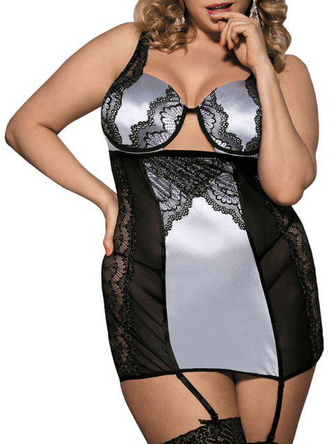 Plus Size Cut Out Lace Insert Bodydoll - SILVER 1X