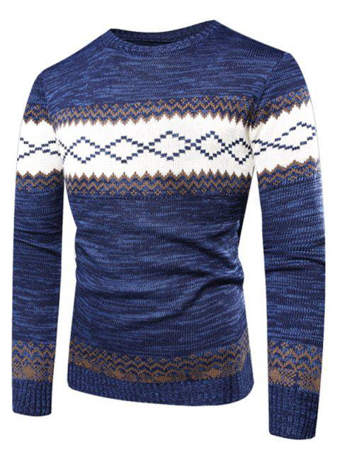 Wavy Line Pattern Crew Neck Sweater - BLUEBERRY BLUE M