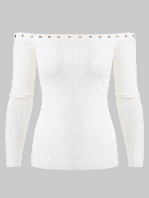 Ribbed Grommet Off The Shoulder Sweater - WHITE L