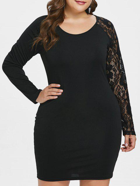Plus Size Lace Panel Ruched Bodycon Dress - BLACK 1X