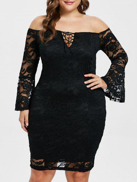 Off The Shoulder Lace Plus Size Dress - BLACK 2X