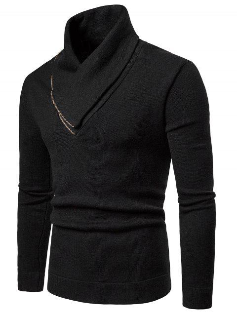 Solid Color Shawl Collar Pullover Sweater - BLACK 2XL