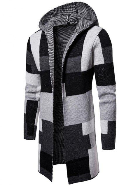 Collarless Hooded Color Block Longline Cardigan - GRAY L