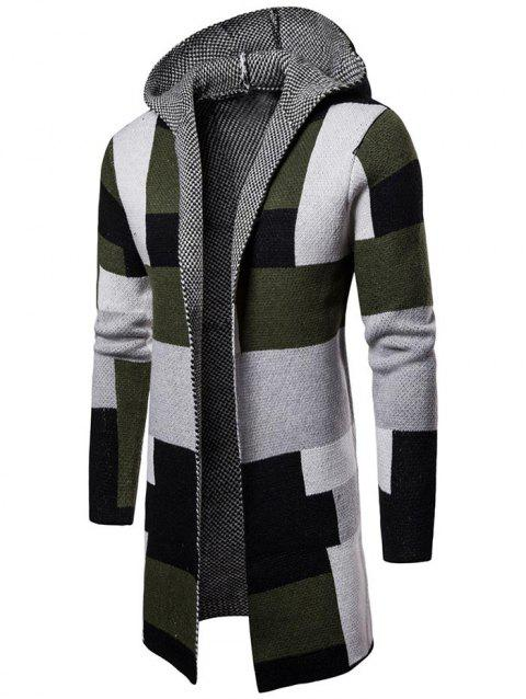 Collarless Hooded Color Block Longline Cardigan - GREEN 2XL