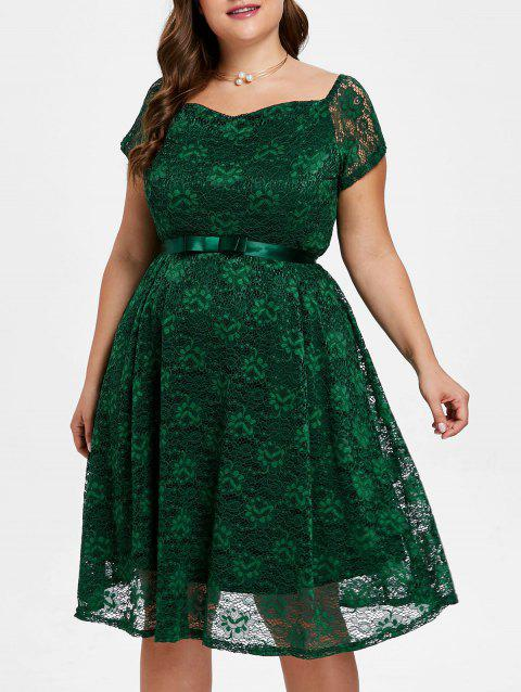 Plus Size Sweetheart Neck Lace Dress with Belt - GREEN L