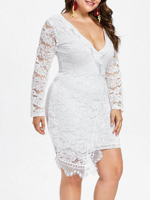 Plus Size Ruffle Long Sleeve Lace Dress - WHITE 1X