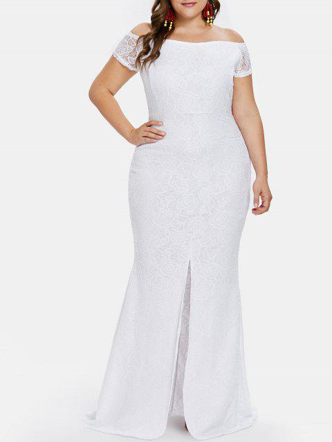 Plus Size Front Slit Lace Fishtail Dress - WHITE L