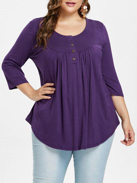 Plus Size Buttoned Detail Casual T-shirt - PURPLE IRIS L