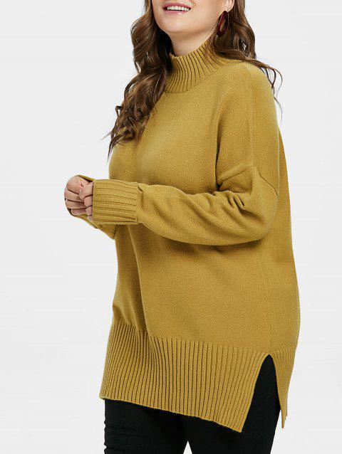 Plus Size High Neck Ribbed Panel Sweater - GOLDEN BROWN 2X