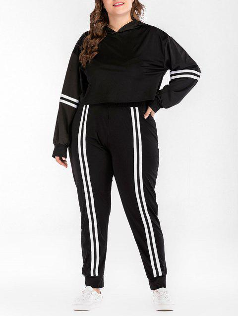 Plus Size Striped Sport Hoodie and Pants - BLACK 3X