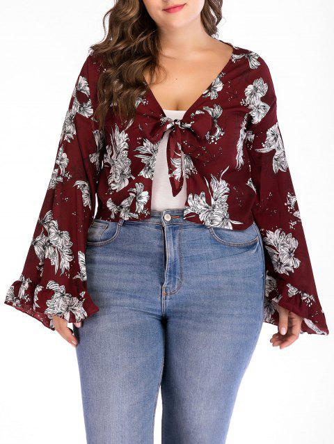 Bell Sleeve Floral Plus Size Blouse - RED WINE 1X