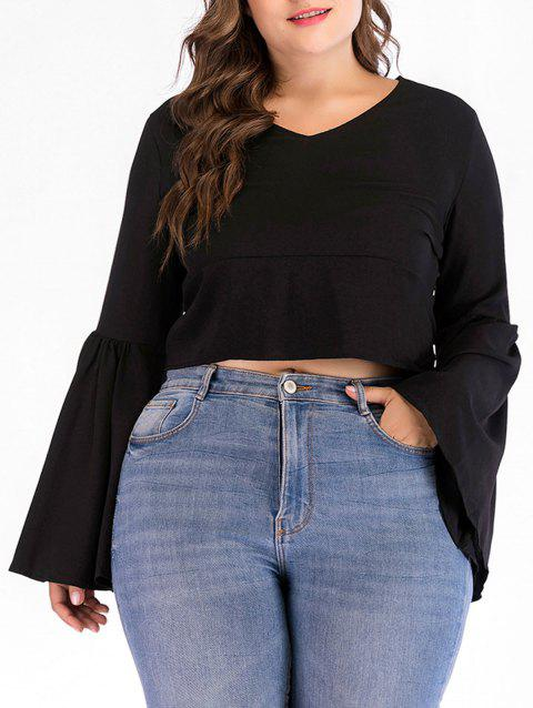 Plus Size Bell Sleeve Back Tied Blouse - BLACK 4X