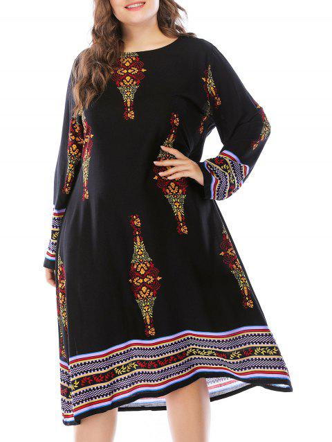 Plus Size Long Sleeve Ethnic Pattern Dress - BLACK 3X