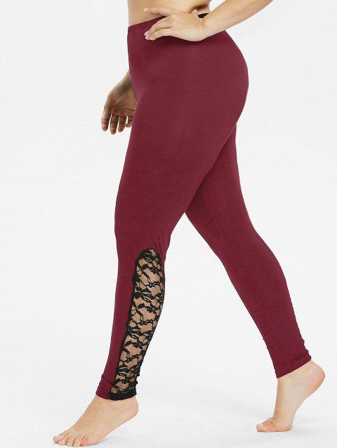 Plus Size Bottom Lace Trim Leggings - RED WINE 3X