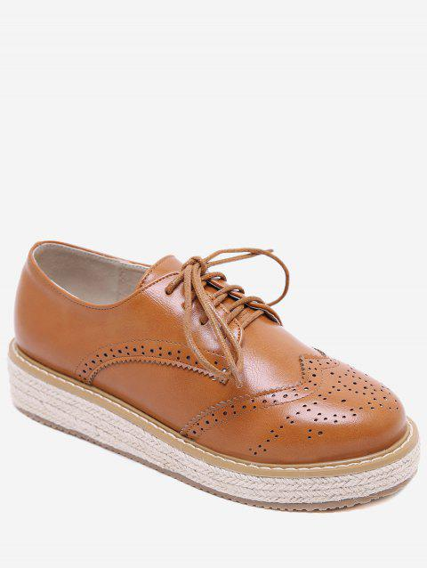Lace Up Espadrilles Platform Wingtip Sneakers - LIGHT BROWN EU 39
