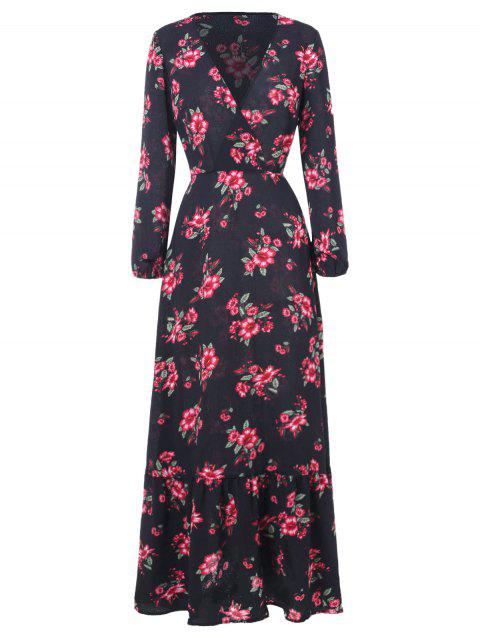 Floral Print Long Sleeve Faux Wrap Dress - BLACK L