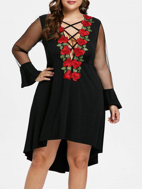 Plus Size Embroidery Plunging Neck Dress - BLACK 5X