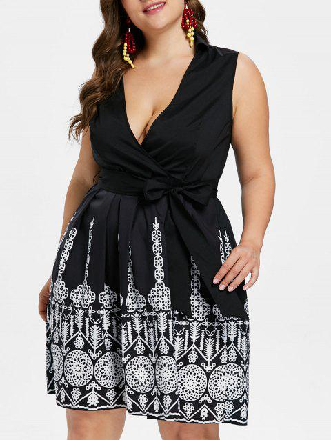 Plus Size Plunge Tribal Print Pin Up Dress - BLACK 1X