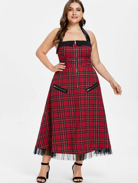58% OFF] 2019 Plus Size Halter Plaid Pin Up Dress In RED WINE ...