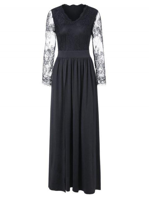 Lace Panel Long Sleeve Maxi Formal Dress - BLACK XL