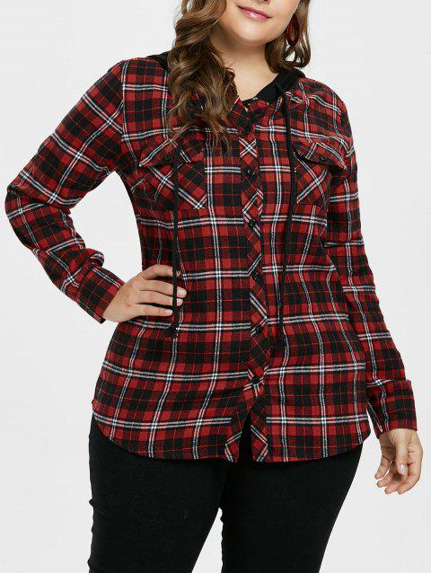 Plus Size Hooded Plaid Shirt Jacket - RED WINE 5X