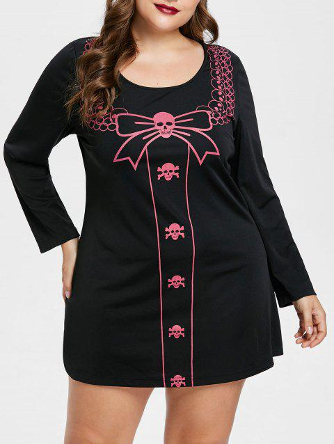 Plus Size Halloween Long Sleeve Tee Dress - BLACK 2X