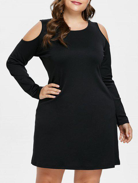 Plus Size Open Shoulder Tee Dress - BLACK L