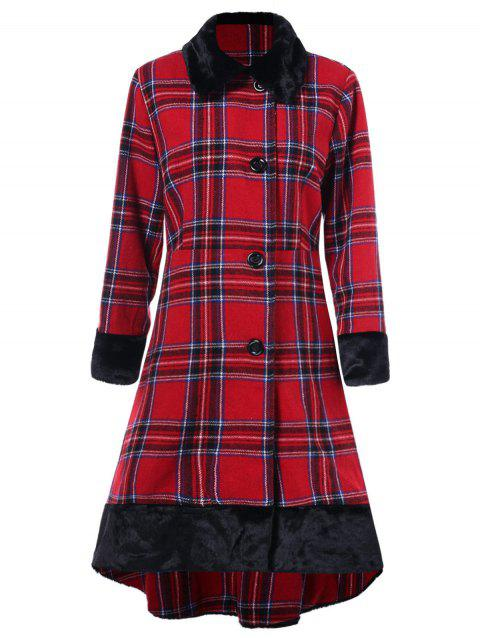 Plus Size Plaid High Low Coat - RED 1X