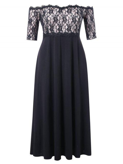 Plus Size Lace Overlay Maxi Dress - BLACK 2X